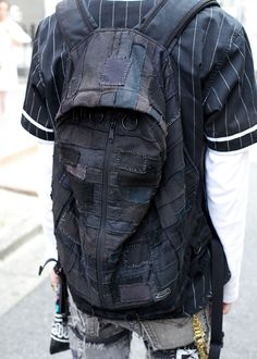 Cool guy in shirt from Supreme skate brand with patched jeans and Nike sneakers. Queer Fashion, Dark Fashion, Mens Fashion, Fashion Menswear, Rare Clothing, Mens Clothing Styles, Tokyo Street Style, Tokyo Style, Dystopian Fashion
