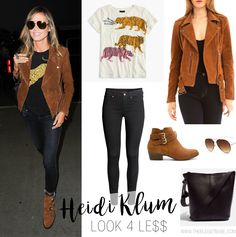 Heidi Klum's Suede Moto Jacket and Buckle Ankle Boots Look for Less Heidi Klum beige cognacbraune Wi Brown Jacket Outfit, Biker Boots Outfit, Brown Suede Jacket, Leather Jacket Outfits, Heidi Klum, Fall Winter Outfits, Winter Style, Ankle Boots, Casual Chic Style