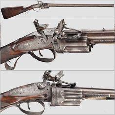 Rare Collier flintlock revolving rifle, circa 1820-1825.