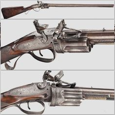 Rare Collier flintlock revolving rifle, circa 1820-1825.