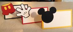 Mickey Mouse themed place cards Party Supplies by Mickey Mouse Party Supplies, Mickey Mouse Birthday Decorations, Mickey Mouse Centerpiece, Mickey Mouse Birthday Invitations, Mickey Mouse Crafts, Disney Crafts, Minnie Mouse, Mickey Mouse First Birthday, Mickey Mouse Clubhouse Birthday Party
