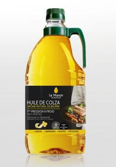 Huile de colza à l'arôme naturel de beurre - Plus riche en oméga 3 et en vitamine E qu'une huile de colza classique (40%). Point de fumée : 200°C. Utilisation pour substitution partielle dans viennoiseries et brioches.