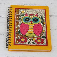 Handmade paper journal, 'Wise Thoughts' - Hand Made Paper Journal with Owl Madhubani Painting Cover Madhubani Art, Madhubani Painting, Mural Painting, Fabric Painting, Umbrella Painting, Kalamkari Painting, Bird Sketch, Art Tribal, Doodle Art Journals
