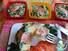 Нежная рыбка, запеченная со шпинатом в омлете - кулинарный рецепт