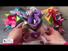Tutorial come realizzare una busta in feltro porta fiori easy diy cartamodello gratuito free pattern - YouTube