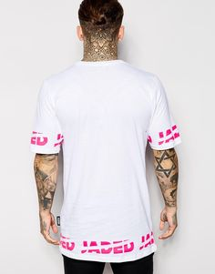 Image 2 of Jaded London Longline T-Shirt With Neon Logo