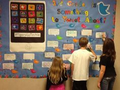 """Twitter / MissPhillips3: Third graders are tweeting ... love this idea for a way to have kids """"tweet"""" on a bulletin board with """"dry erase"""" speech bubbles. This allows kids to """"tweet"""" and then the teacher can tweet messages via their classroom account for them, so students don't need an actual Twitter account. Neat idea!"""