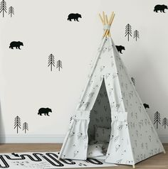 nursery walls - Bear And Forrest Trees Wall Sticker Nursery Decals Woodland Decals Nature Wall Decals Scandinavian Nursery Wall Sticker Kid Decals Room Themes, Nursery Themes, Boys Wall Stickers, Bear Nursery, Woodland Themed Nursery, Penguin Nursery, Scandinavian Nursery, Nursery Wall Stickers, Tree Wall