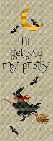"""I'll Get You My Pretty"" Free Halloween cross-stitch design by Sue Hillis designs; one of 4 freebies on this  page"
