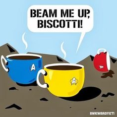 """I giggled pretty good at this. The dead red coffee cup was a nice touch... and dont forget the pointy """"ear"""" on the spock coffee lol. @Peggy Ayling"""