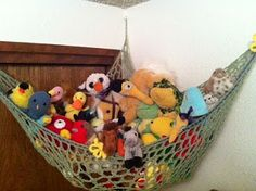 Crochet Stuff Toys The Hook Brings You Back: Toy Hammock: Crochet! Crochet Hammock, Crochet Yarn, Crochet Toys, Crochet 101, Stuffed Animal Hammock, Stuffed Animals, Cute Crafts, Crafts To Make, Kids Crafts