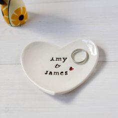 Personalised Wedding Gift Ring Dish Black Text