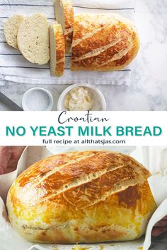 How do you bake bread without yeast? Easy and quick! Save this recipe for when you're in a hurry! Yeast Free Breads, No Yeast Bread, Yeast Bread Recipes, Quick Bread Recipes, Bread Machine Recipes, Bread Baking, Baking Recipes, Baking Desserts, Baking Soda Bread Recipe