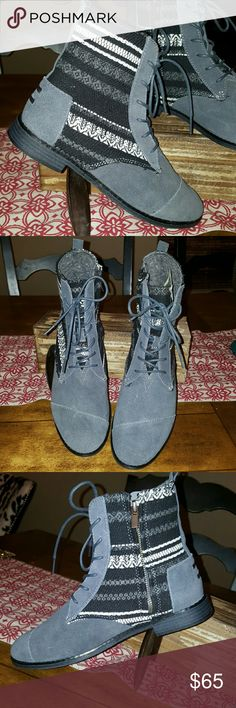 NWT- Women's Alpa Boots from Toms- Size 9.5 These are Toms side zip boots, they are Suede with aztec tapestry design. They are water resistant. Color is Castlerock grey (darker grey color).  These are perfect! TOMS Shoes Ankle Boots & Booties