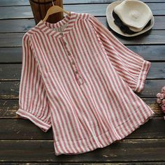 Vintage Striped O-Neck Linen Cotton Button Blouses Tops herhershoes Bohemian Attire, Sleeveless Jacket, Shirt Blouses, Shirts, Kurta Designs, Mode Outfits, Casual Tops, Comfy Casual, Types Of Sleeves