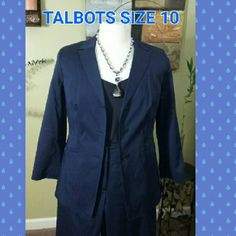 "PETITE NAVY BLUE LINED JACKET Petite stretch fabric navy blue three button front lined blazer size 10 with accent of three buttons on each sleeve. 21"" inch sleeves   Great feature in the back pleats making this blue elegance with jeans or slacks. Talbots Jackets & Coats Blazers"