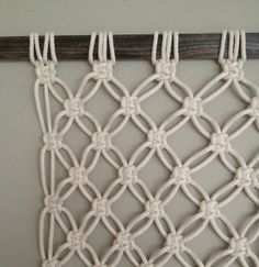 Macrame Wall Hanging Mesh by HollyMuellerHome Macrame Art, Macrame Projects, Macrame Knots, Diy And Crafts, Arts And Crafts, Macrame Plant Holder, Braids With Weave, Macrame Patterns, Weaving