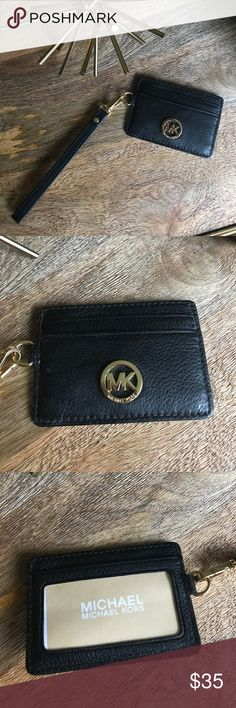 Michael Kors Black Card Holder with Strap Never Used- brand new! Michael Kors black card holder with leather strap. Michael Kors Accessories Key & Card Holders