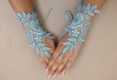 Mint green Bridal Glove,White lace gloves, Fingerless Glove,