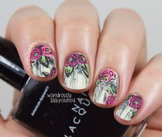 Guest Post for Popping Nails - Grunge Floral Nail Art - Wondrously Polished