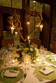 Winter Wedding Centerpiece.  Flowers by Ann Graham Floral & Event.  www.lakeplacidlodge.com