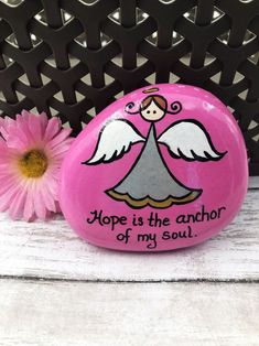 Hope is the anchor of my soul. This hand-painted rock features my Alleluia Rocks angel and shares the gift of HOPE! A great gift for someone in need of inspiring words. Rock Painting Patterns, Rock Painting Designs, Paint Designs, Painted Rocks Craft, Hand Painted Rocks, Hope Painting, Rock Crafts, Learn To Paint, Pebble Art