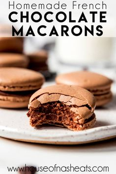 These indulgent Chocolate Macarons are filled with chocolate ganache and easier to make than you would think! Don't be intimidated by this French dessert. Chocolate Macaron Recipe, Chocolate Macaroons, Chocolate Ganache, Chocolate Recipes, French Macaroon Recipes, Recipe For Macaroons Easy, Easy Macaron Recipe, French Dessert Recipes, Dessert Ideas