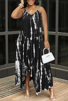 Black Sexy Print Split Joint Spaghetti Strap Irregular Dress Dresses Curvy Women Fashion, White Fashion, 2 Piece Outfits, Large Size Dresses, Sleeve Styles, Dress Skirt, Shoes Wholesale, Wholesale Clothing, Cheap Clothes