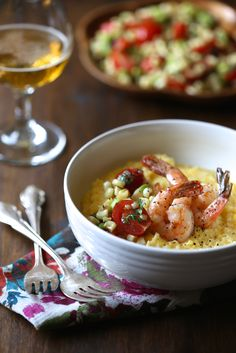 beer braised shrimp & grits with summer succotash