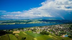 Flight in the evening above the Hallilersee. Seen, Green Nature, Switzerland, Golf Courses, Most Beautiful, River, Lucerne, Law School, Rivers