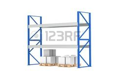 pallet rack: Warehouse Shelves. Low Stock Level. Part of a Blue Warehouse and logistics series.