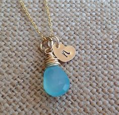 Gold heart tag with initial and aqua chalcedony wire wrapped gemstone necklace. Name tags necklace. Initial tags. Kids names necklace. Gold. by glitterazzijewels. Explore more products on http://glitterazzijewels.etsy.com