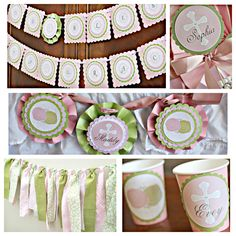 First Communion/ Baptism party decor. 5 piece religious party box. Girl / Pink / Green / Ivory. Fully assembled and customizable. by CharmingTouchParties on Etsy