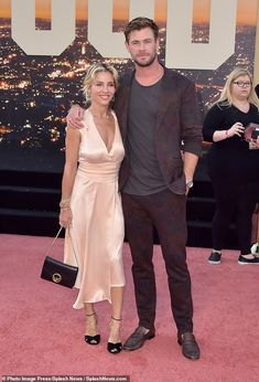 Show of support! In the video, Chris (pictured with wife Elsa Pataky) gave Roan a shout ou...