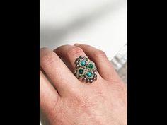 "Tuto bague ""coco"" en macramé et en francais - YouTube Macrame Rings, Macrame Mirror, Macrame Necklace, Macrame Jewelry, Beaded Rings, Diy Macrame, Bracelets Diy, Macrame Bracelets, Tee Set"