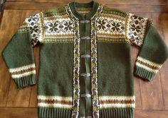Fargekombo: Evebofoss Norway Nordic Wool Cardigan Sweater W Metal Hooks Dale SZ 56 | eBay
