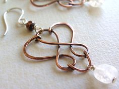 Copper silver handmade wire wrapped earrings glass white jewelry