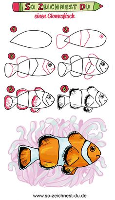This is how you draw a clown fish like Nemo Drawing Lessons For Kids, Art Drawings For Kids, Disney Drawings, Art For Kids, Elementary Drawing, Drawing School, Easy Dragon Drawings, Fish Drawings, Draw Tutorial