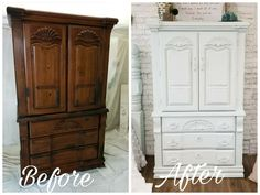 Before And After Chest Armoire Got A Makeover Chalk Painted Light Duck Egg Color Distressed Furniture