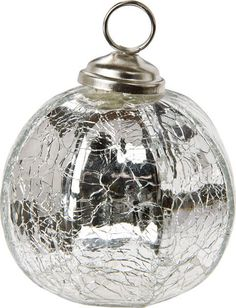 silver place card holder crackled glass bauble