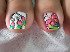 Pedicure Designs, Pedicure Nail Art, Toe Nail Designs, Nail Polish Designs, Toe Nail Art, Feet Nail Design, Wonder Nails, Dream Catcher Nails, Magic Nails