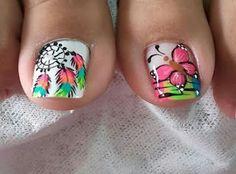 Hermoso diseño de mariposas para una linda pedicura ~ Manoslindas.com Pedicure Designs, Pedicure Nail Art, Toe Nail Designs, Nail Polish Designs, Toe Nail Art, Crazy Nail Art, Crazy Nails, Dream Catcher Nails, Feet Nail Design