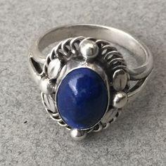 Georg Jensen 830 Silver Ring No. 1 with Lapis Lazuli