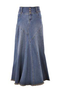 Fantastic Flared Long Denim Skirt Style 0543 - The Skirt Boutique Modest Skirts, Modest Outfits, Skirt Outfits, Modest Clothing, Modest Fashion, Long Jean Skirts, Denim Skirts, Blue Skirts, Maxi Skirts