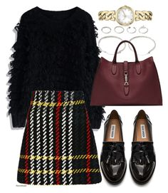 """Untitled #351"" by foreverdreamt ❤ liked on Polyvore featuring FOSSIL, Chicwish, Forever 21, Miu Miu, Steve Madden and Gucci"