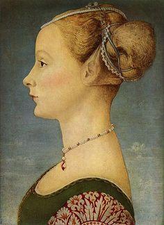 "Portrait of a Girl - Pollaiuolo, Piero - Renaissance (Early Italian, ""Quattrocento"") - Oil on wood - Portrait - TerminArtors Renaissance Hairstyles, Historical Hairstyles, Renaissance Portraits, Renaissance Paintings, Renaissance Jewelry, Medieval Jewelry, Renaissance Fashion, Renaissance Art, Metropolitan Museum"