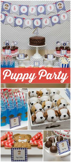 Loving this adorable puppy party! They let the kids adopt pets, too! See more party ideas at CatchMyParty.com!