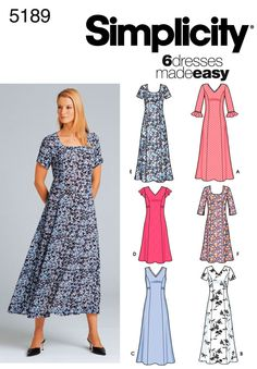 Flared skirt, princess seams, no waist seam, wide neck dress: Simplicity : 5189?