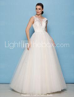 lan ting a-line   prinsessa brudklänning - elfenben golv längd scoop spets    tyll 78cb83f46f9ee