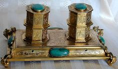 ANTIQUE FRENCH BRONZE & MALACHITE INKWELL Mid-19th